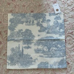 Blue toile 20x20 pillow cushion cover